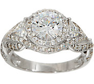 Diamonique Intricate Halo Bridal Ring, Sterling Silver - J354700