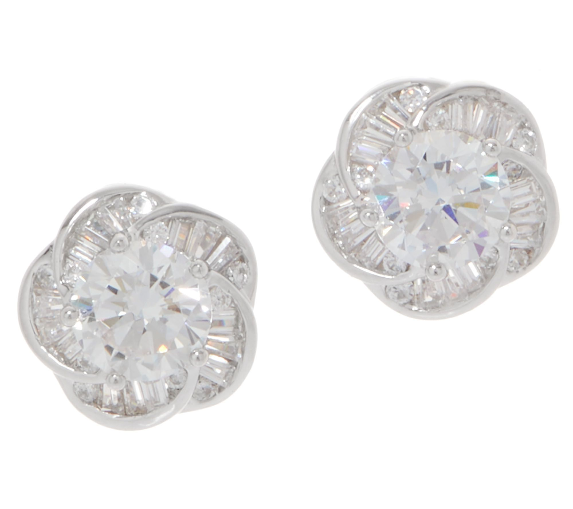 1b8349f45 Diamonique Baguette and Round Floral Stud Earrings, Sterling Silver - Page  1 — QVC.com