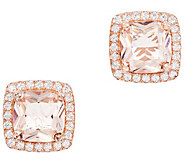 Diamonique Simulated Gemstone Halo Stud Earrings, Boxed - J358400