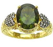 Judith Ripka 14K Clad Moldavite & Diamonique Ring - J376800