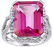 14K 14.50 cttw Pink Topaz & 1/2 cttw Diamond Cocktail Ring - J379100