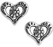 American West Sterling Heart and Flower Earrings - J379600