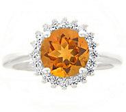 14K White Gold Round Gemstone Halo Ring - J382600
