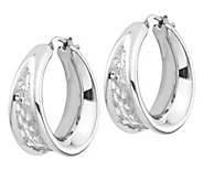 Italian Silver 1 Textured Hoop Earrings - J382900
