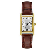Caravelle Womens Classic Stainless Rectangle Leather Watch - J383300