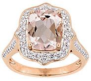 14K 2.65 cttw Morganite & 5/8 cttw Diamond HaloRing - J392300