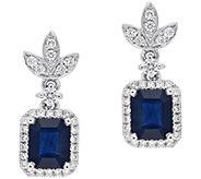 14K White Gold 1.80 cttw Sapphire & 1/3 cttw Diamond Earrings - J393200