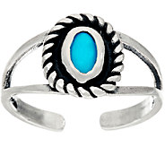 American West Sleeping Beauty Turquoise Sterling Silver Toe Ring - J324101