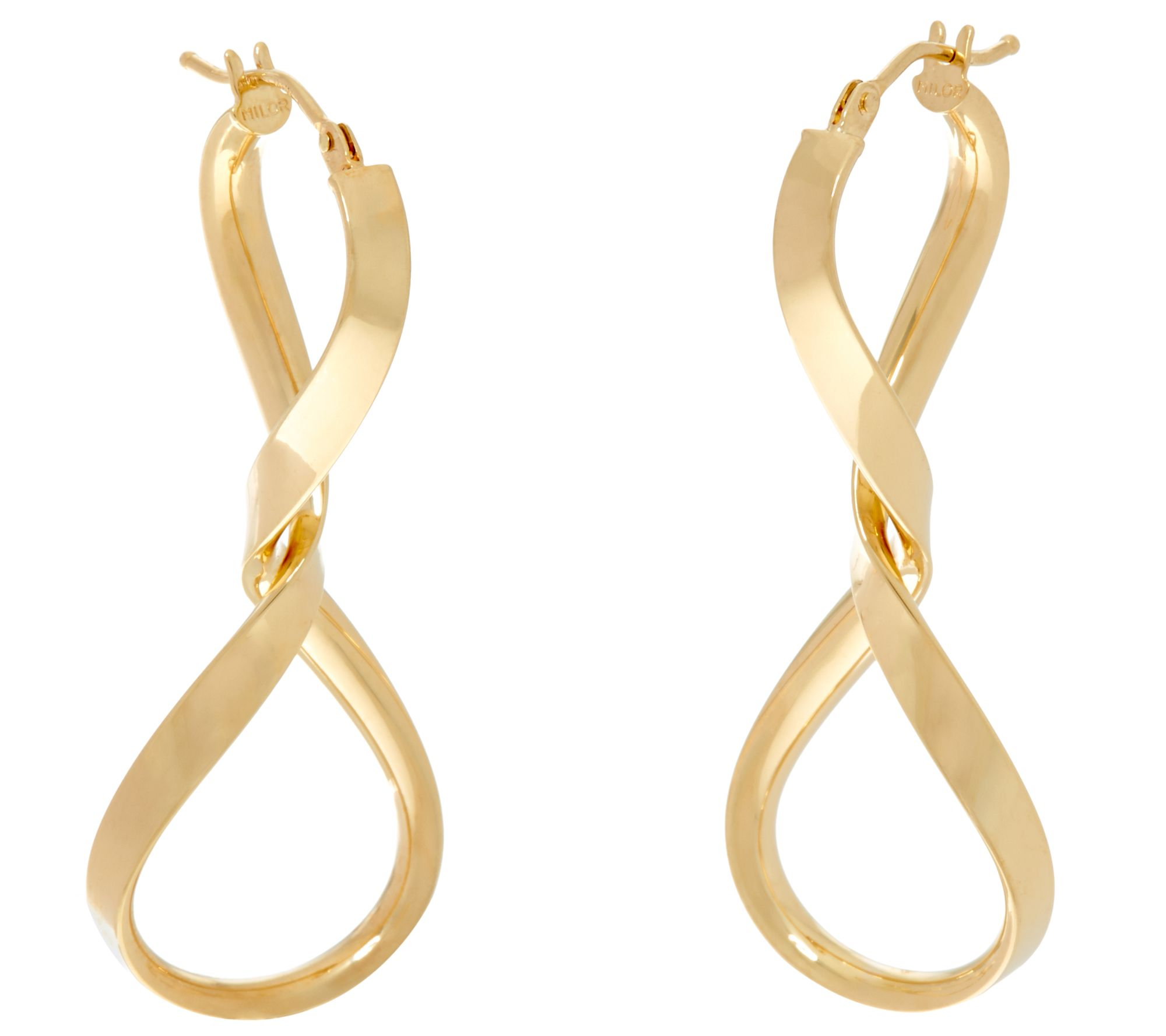 Italian Gold Twisted Hoop Earrings 14K Gold - Page 1 — QVC.com