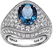 Judith Ripka Sterling London Blue Topaz & Diamonique Ring - J338501