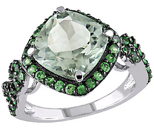 4.50cttw Tsavorite & Green Quartz Ring, Sterl
