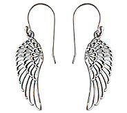 Novica Artisan Crafted Sterling Dangle Wing Earrings - J341201