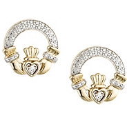 Solvar 1/10 cttw Diamond Claddagh Earrings 1 4KGold - J341901