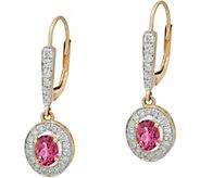 Oval Pink Tourmaline & Pave Diamond Drop Earrings, 14K, 0.60 cttw - J348501