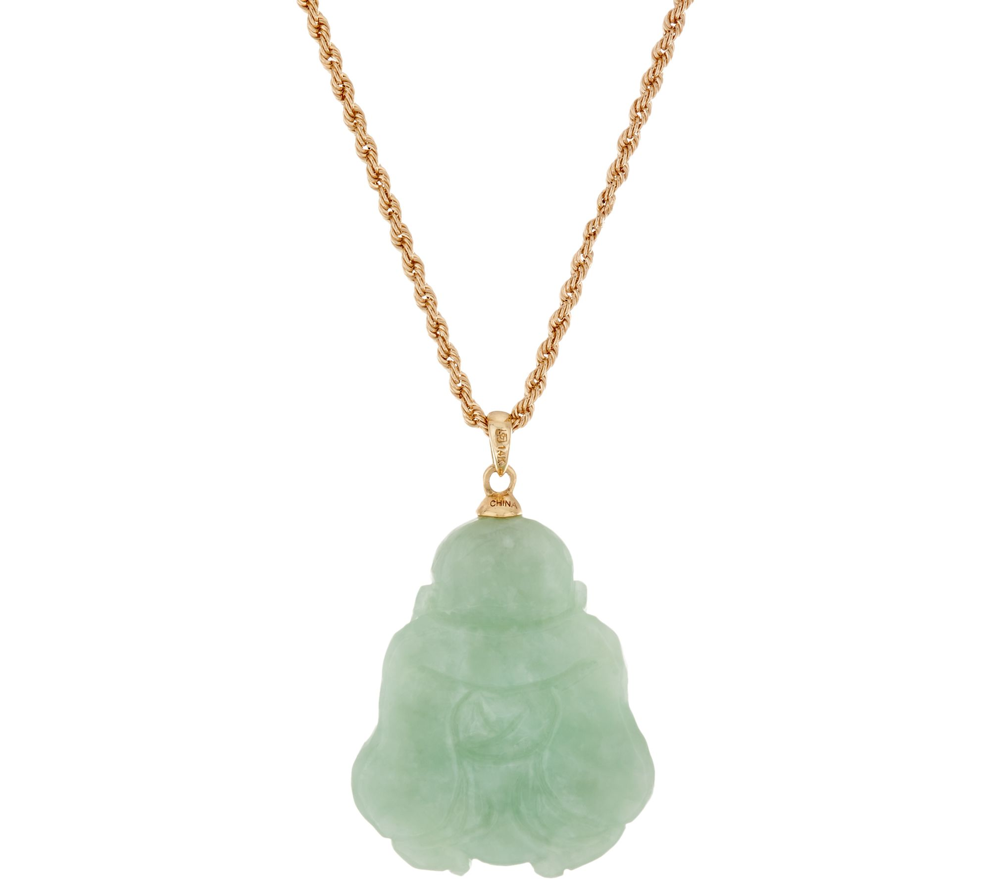 Jade carved buddha pendant on 18 chain 14k gold page 1 qvc mozeypictures Choice Image