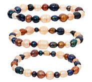 Honora Cultured Pearl Set of Three Stretch Bracelets - J350401