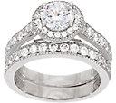 Diamonique Two Piece Halo Ring Set, Platinum Clad