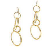 Italian Gold Textured Multi-Circle Earrings, 14K Gold - J355001