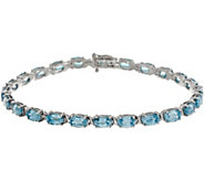 Blue Zircon Oval 7-1/4 Tennis Bracelet 15.50 cttw, 14K Gold - J357201