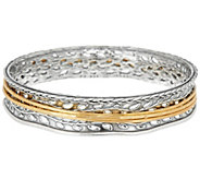 Or Paz Sterling Silver Two-tone Spinner Bangle, 29.0g - J358201