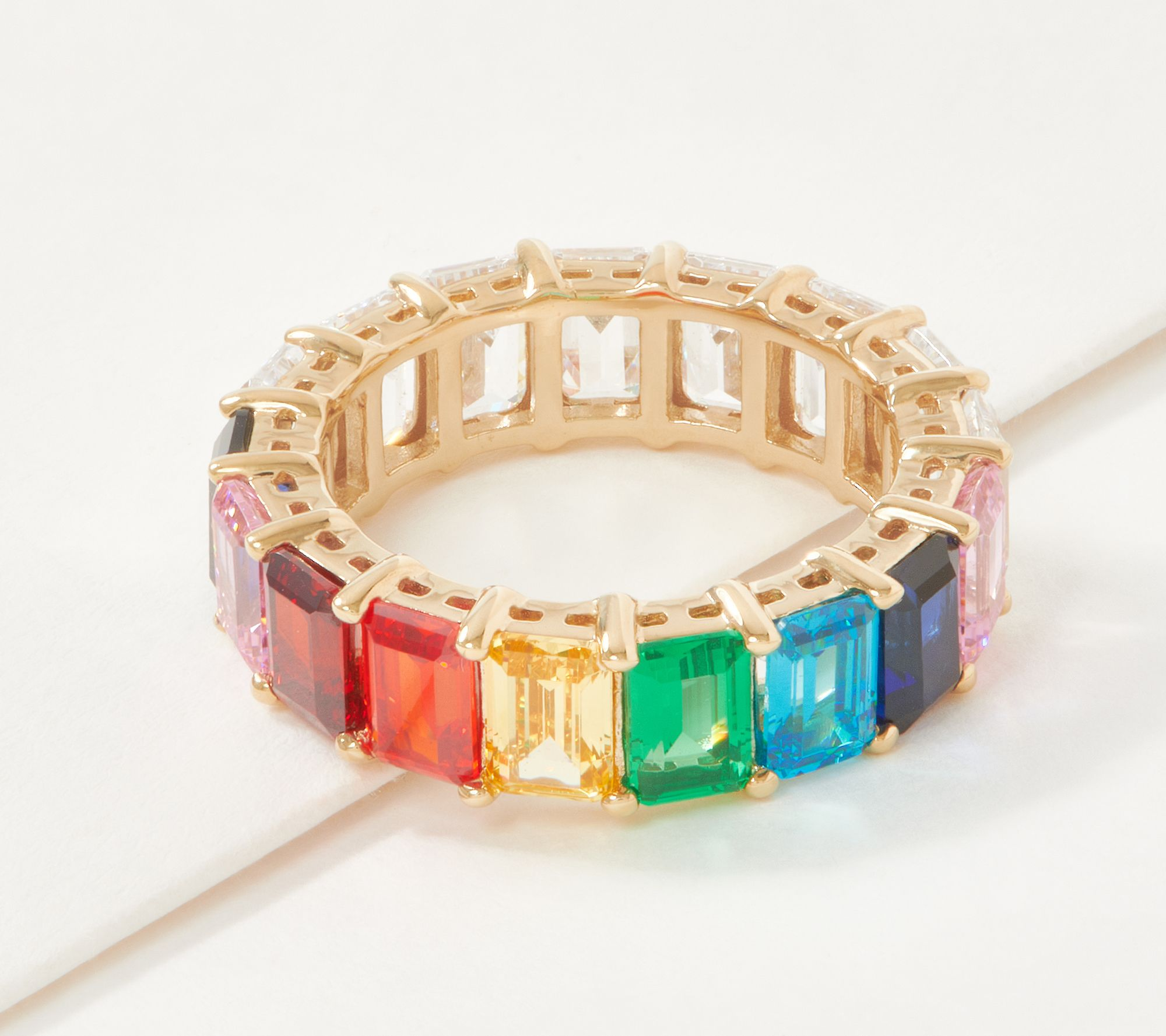 3 Pieces Rainbow Emerald Cut Ring Cubic Zirconia Baguette Ring Eternity Band Ring for Woman Girls