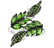Sterling 3.25 cttw Chrome Diopside Leaf Ring - J376001