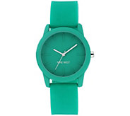 Nine West Womens Green Silicon Strap Watch - J384301