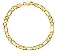 14K Gold Mens 9 Flat Figaro Link Bracelet, 10.6g - J384401