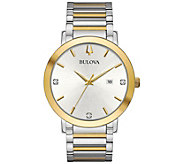 Bulova Mens Modern Diamond Accent Two-Tone Bracelet Watch - J384801