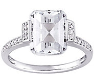 Sterling Silver 4.00 cttw Emerald-Cut Topaz & Diamond Ring - J385301