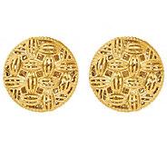 Italian Gold Round Woven Pattern Stud Earrings,14K - J385601