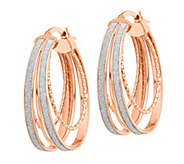 Italian Gold 1-1/4 Glitter-Infused Oval Hoop Earrings, 14K - J385701
