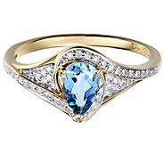14K Gold Aquamarine & 1/7 cttw Diamond Ring - J385801