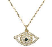 Judith Ripka 14K Sapphire & Diamond Evil Eye Pendant w/ Chain - J388601