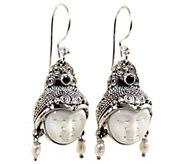 Novica Artisan Crafted Cultured Pearl Peridot Dangle Earrings - J388701