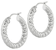 Steel By Design 1-1/4 Ribbed Polished Hoop Earrings - J389201