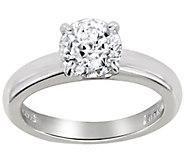 Diamonique 1.00 cttw 100-Facet Solitaire Ring,Platinum Clad - J112402