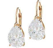 Diamonique 4.00 cttw Pear Leverback Earrings, 14K Gold - J348602