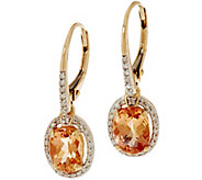 Oval Imperial Topaz & Diamond Drop Earrings 14K Gold 1.45 cttw - J350102