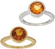 Judith Ripka Sterling Silver or 14K Clad Gemstone Solitare Ring - J350802
