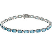 Blue Zircon Oval 8 Tennis Bracelet 16.00 cttw, 14K Gold - J357202