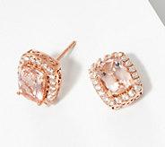 Elongated Cushion Cut Morganite Diamond Earrings, 14K - J360502