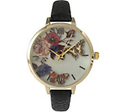 Olivia Pratt Flowers & Butterflies Leather Strap Watch - J379402