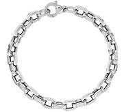 Italian Silver Rectangle Link Bracelet Sterling, 8.6g - J379802