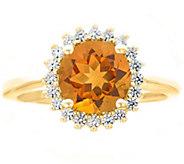 14K Yellow Gold Round Gemstone Halo Ring - J382602