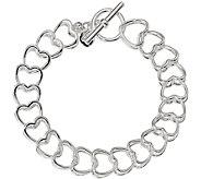 Italian Silver 7-3/4 Heart Link Toggle Bracelet, 22.8g - J382802