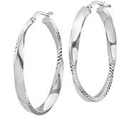 Italian Silver 1-5/8 Ribbed Twisted Hoop Earrings - J383002