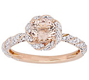 14K 0.85 cttw Morganite & 1/4 cttw Diamond Floral Ring - J392302