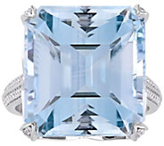 14K Gold 25.00 cttw Blue Topaz & 1/2 cttw Diamond Ring - J392502
