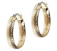 Italian Gold Diamond-Cut 1 Oval Hoop Earrings,14K - J392602